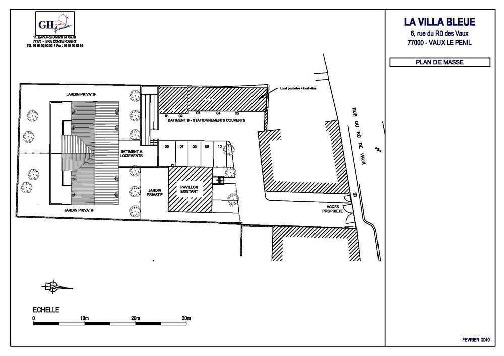 Plan de masse villa bleue
