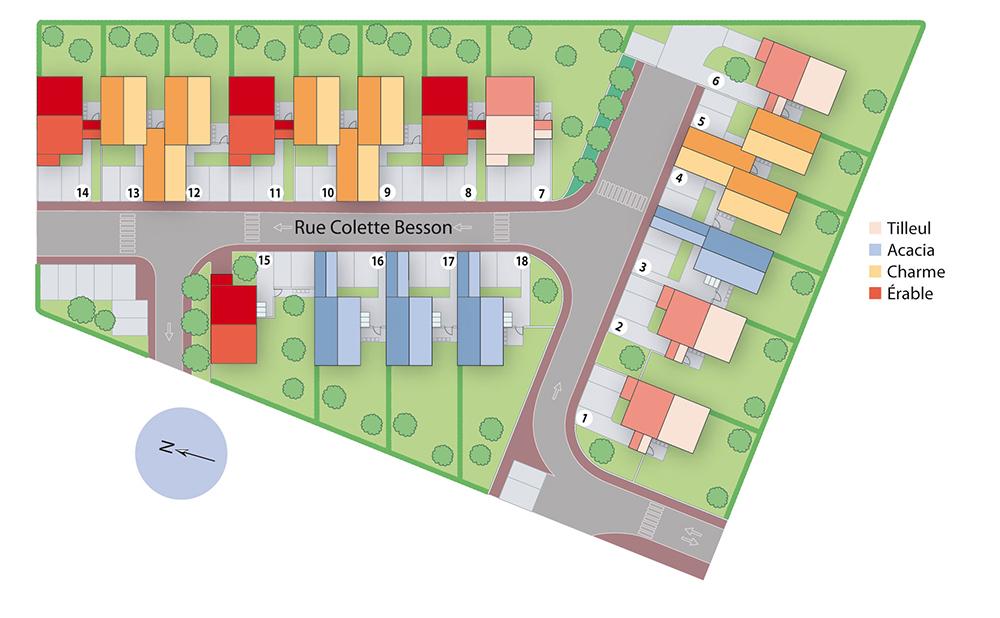 Plan de masse du lotissement les demeures du Parc à Saint-Pierre du Perray