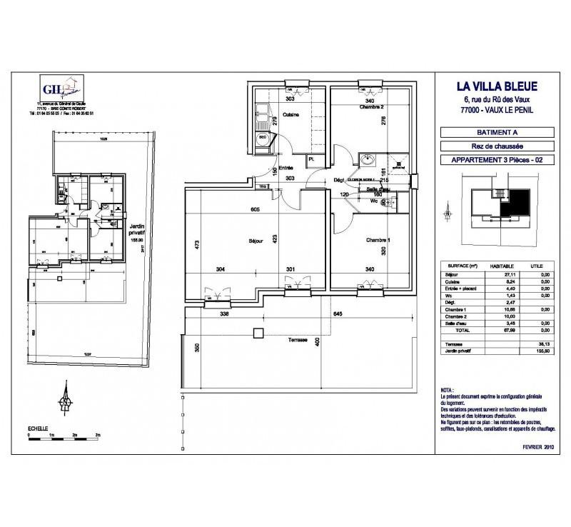 plan 3 pieces villa bleue